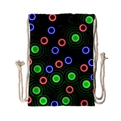 Neons Couleurs Circle Light Green Red Line Drawstring Bag (small) by Mariart