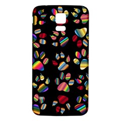 Colorful Paw Prints Pattern Background Reinvigorated Samsung Galaxy S5 Back Case (white) by Nexatart