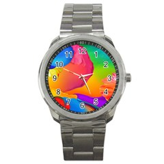 Paint Rainbow Color Blue Red Green Blue Purple Sport Metal Watch by Mariart