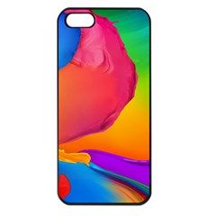 Paint Rainbow Color Blue Red Green Blue Purple Apple Iphone 5 Seamless Case (black) by Mariart