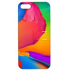 Paint Rainbow Color Blue Red Green Blue Purple Apple Iphone 5 Hardshell Case With Stand by Mariart