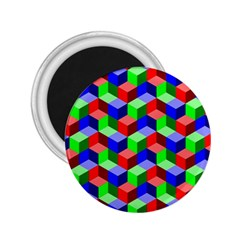 Seamless Rgb Isometric Cubes Pattern 2 25  Magnets