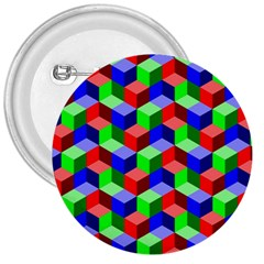 Seamless Rgb Isometric Cubes Pattern 3  Buttons by Nexatart