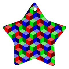 Seamless Rgb Isometric Cubes Pattern Ornament (star) by Nexatart