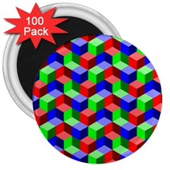 Seamless Rgb Isometric Cubes Pattern 3  Magnets (100 Pack)