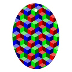 Seamless Rgb Isometric Cubes Pattern Oval Ornament (two Sides) by Nexatart