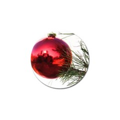 Red Christmas Tree Ornament Reflection Golf Ball Marker by DesignMonaco
