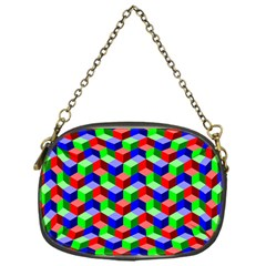Seamless Rgb Isometric Cubes Pattern Chain Purses (one Side)