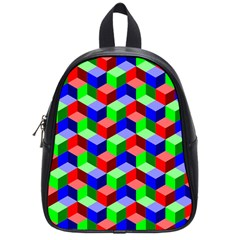 Seamless Rgb Isometric Cubes Pattern School Bags (small)  by Nexatart