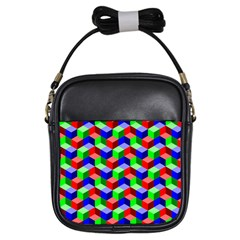 Seamless Rgb Isometric Cubes Pattern Girls Sling Bags by Nexatart