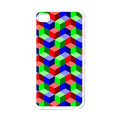 Seamless Rgb Isometric Cubes Pattern Apple Iphone 4 Case (white)