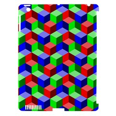 Seamless Rgb Isometric Cubes Pattern Apple Ipad 3/4 Hardshell Case (compatible With Smart Cover)