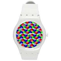 Seamless Rgb Isometric Cubes Pattern Round Plastic Sport Watch (m)