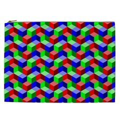 Seamless Rgb Isometric Cubes Pattern Cosmetic Bag (xxl)