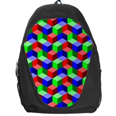 Seamless Rgb Isometric Cubes Pattern Backpack Bag by Nexatart