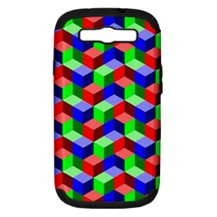 Seamless Rgb Isometric Cubes Pattern Samsung Galaxy S Iii Hardshell Case (pc+silicone)