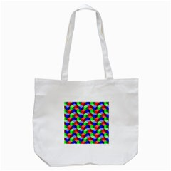 Seamless Rgb Isometric Cubes Pattern Tote Bag (white)