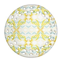 Crane White Yellow Bird Eye Animals Face Mask Round Filigree Ornament (two Sides) by Mariart