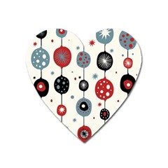 Retro Ornament Pattern Heart Magnet by Nexatart