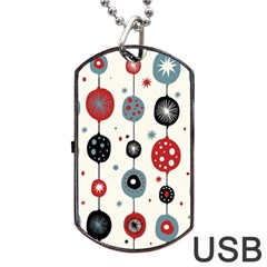 Retro Ornament Pattern Dog Tag Usb Flash (two Sides) by Nexatart