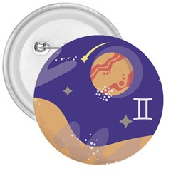 Planet Galaxy Space Star Polka Meteor Moon Blue Sky Circle 3  Buttons by Mariart