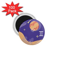 Planet Galaxy Space Star Polka Meteor Moon Blue Sky Circle 1 75  Magnets (100 Pack)  by Mariart