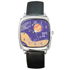 Planet Galaxy Space Star Polka Meteor Moon Blue Sky Circle Square Metal Watch by Mariart