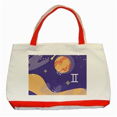 Planet Galaxy Space Star Polka Meteor Moon Blue Sky Circle Classic Tote Bag (red) by Mariart