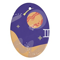 Planet Galaxy Space Star Polka Meteor Moon Blue Sky Circle Oval Ornament (two Sides) by Mariart