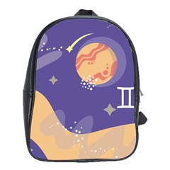 Planet Galaxy Space Star Polka Meteor Moon Blue Sky Circle School Bags(large)  by Mariart