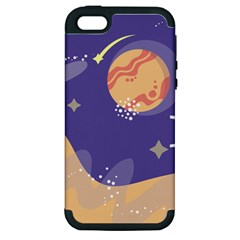Planet Galaxy Space Star Polka Meteor Moon Blue Sky Circle Apple Iphone 5 Hardshell Case (pc+silicone) by Mariart