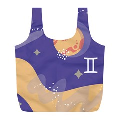 Planet Galaxy Space Star Polka Meteor Moon Blue Sky Circle Full Print Recycle Bags (l)  by Mariart