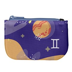 Planet Galaxy Space Star Polka Meteor Moon Blue Sky Circle Large Coin Purse by Mariart