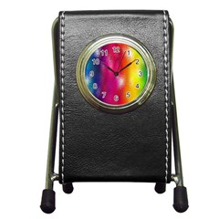 Color Glass Rainbow Green Yellow Gold Pink Purple Red Blue Pen Holder Desk Clocks by Mariart