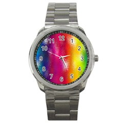 Color Glass Rainbow Green Yellow Gold Pink Purple Red Blue Sport Metal Watch by Mariart