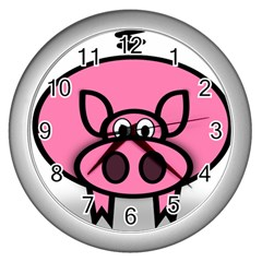 Pork Pig Pink Animals Wall Clocks (silver)  by Mariart