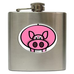 Pork Pig Pink Animals Hip Flask (6 Oz) by Mariart