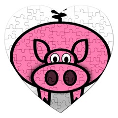 Pork Pig Pink Animals Jigsaw Puzzle (heart) by Mariart
