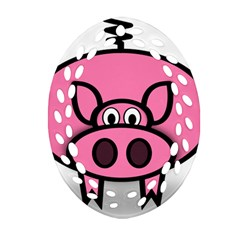 Pork Pig Pink Animals Ornament (oval Filigree) by Mariart