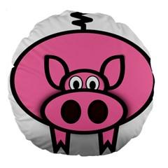Pork Pig Pink Animals Large 18  Premium Round Cushions by Mariart