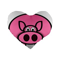 Pork Pig Pink Animals Standard 16  Premium Heart Shape Cushions by Mariart