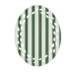 Plaid Line Green Line Vertical Oval Filigree Ornament (two Sides) by Mariart