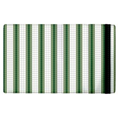 Plaid Line Green Line Vertical Apple Ipad 2 Flip Case by Mariart