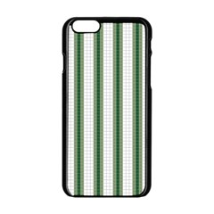 Plaid Line Green Line Vertical Apple Iphone 6/6s Black Enamel Case by Mariart