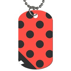 Red Black Hole White Line Wave Chevron Polka Circle Dog Tag (two Sides) by Mariart