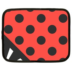 Red Black Hole White Line Wave Chevron Polka Circle Netbook Case (xxl)  by Mariart
