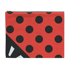 Red Black Hole White Line Wave Chevron Polka Circle Cosmetic Bag (xl) by Mariart