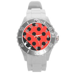 Red Black Hole White Line Wave Chevron Polka Circle Round Plastic Sport Watch (l)
