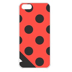 Red Black Hole White Line Wave Chevron Polka Circle Apple Iphone 5 Seamless Case (white) by Mariart