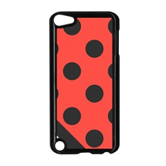 Red Black Hole White Line Wave Chevron Polka Circle Apple Ipod Touch 5 Case (black) by Mariart
